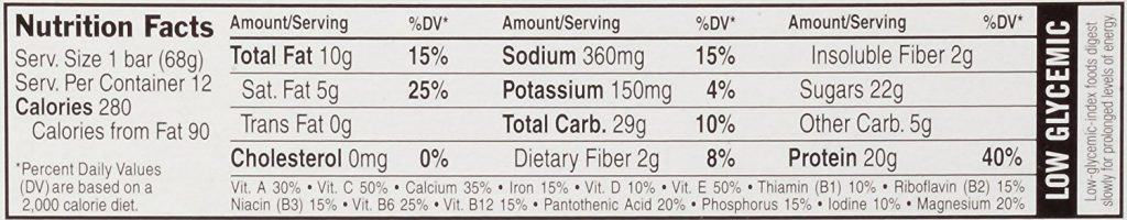 Clif builders protein bar nutrition facts